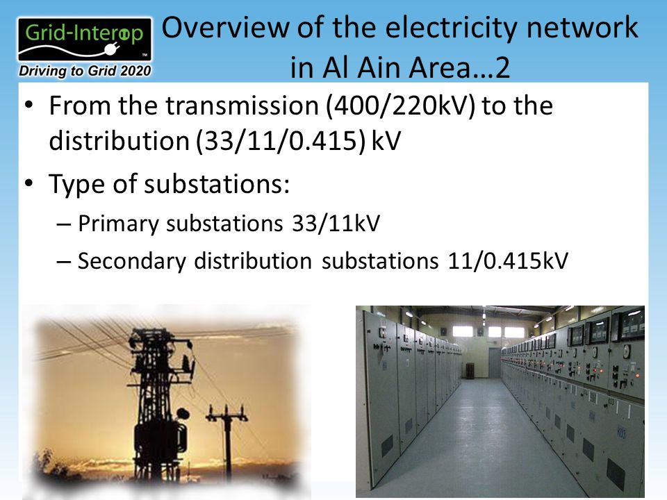 Overview of the electricity network in Al Ain Area…2 From the transmission (400/220kV) to the distribution (33/11/0.415) kV Type of substations: – Primary substations 33/11kV – Secondary distribution substations 11/0.415kV