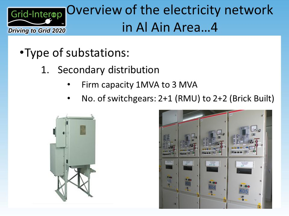 Overview of the electricity network in Al Ain Area…4 Type of substations: 1.Secondary distribution Firm capacity 1MVA to 3 MVA No.