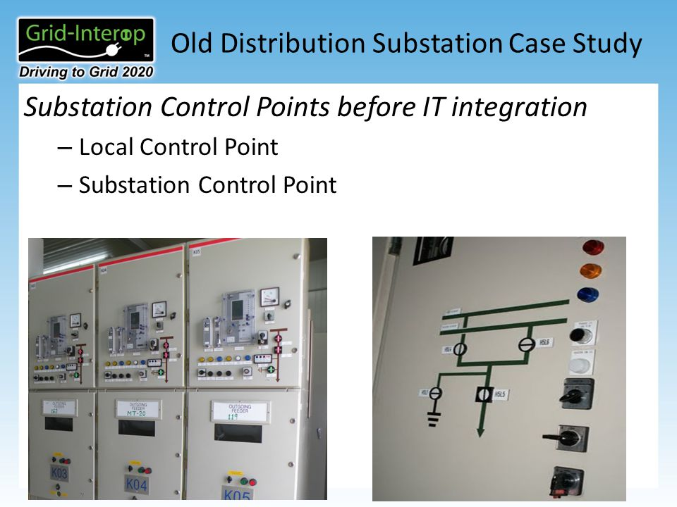 Old Distribution Substation Case Study Substation Control Points before IT integration – Local Control Point – Substation Control Point