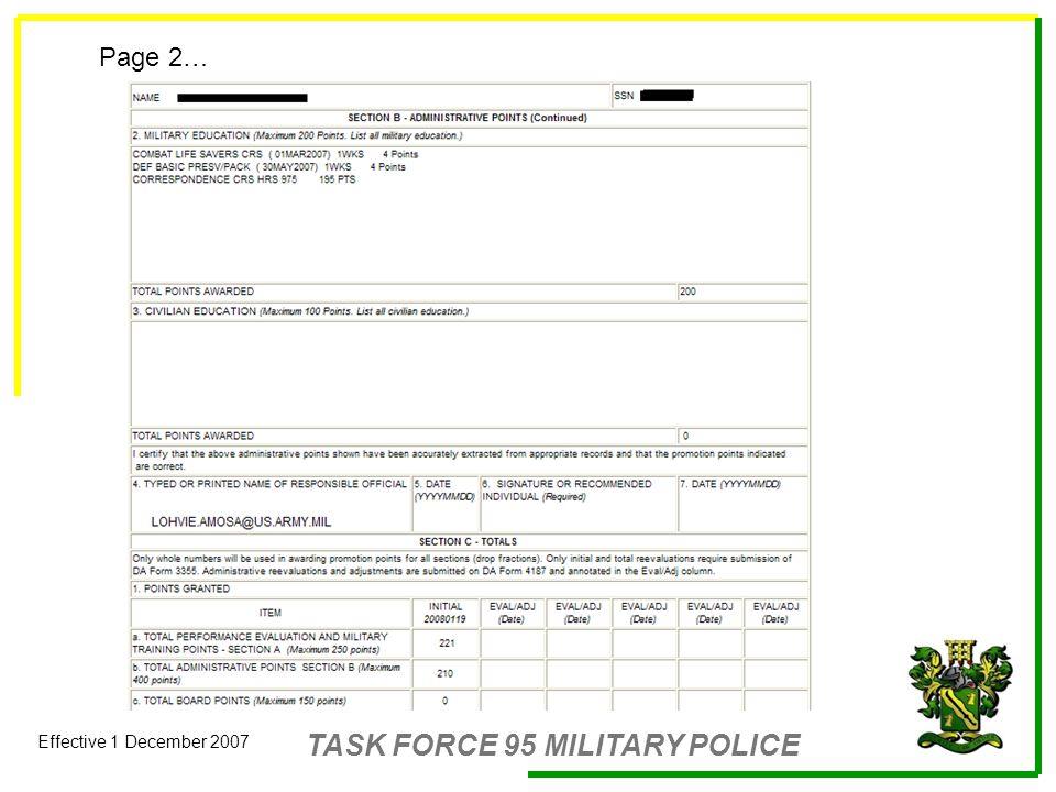 TASK FORCE 95 MILITARY POLICE Effective 1 December 2007 Enlisted ...