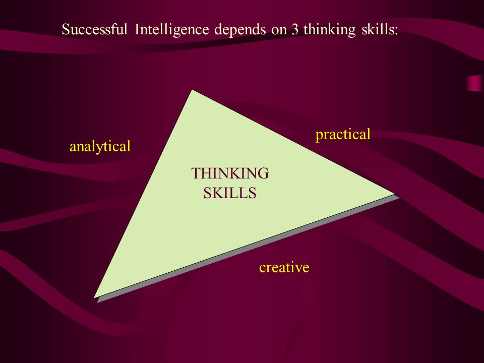 THINKING SKILLS creative analytical practical Successful Intelligence depends on 3 thinking skills:
