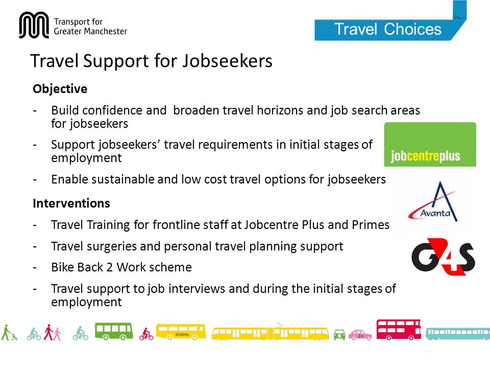 Travel Choices Travel Support for Jobseekers Objective -Build confidence and broaden travel horizons and job search areas for jobseekers -Support jobseekers' travel requirements in initial stages of employment -Enable sustainable and low cost travel options for jobseekers Interventions -Travel Training for frontline staff at Jobcentre Plus and Primes -Travel surgeries and personal travel planning support -Bike Back 2 Work scheme -Travel support to job interviews and during the initial stages of employment