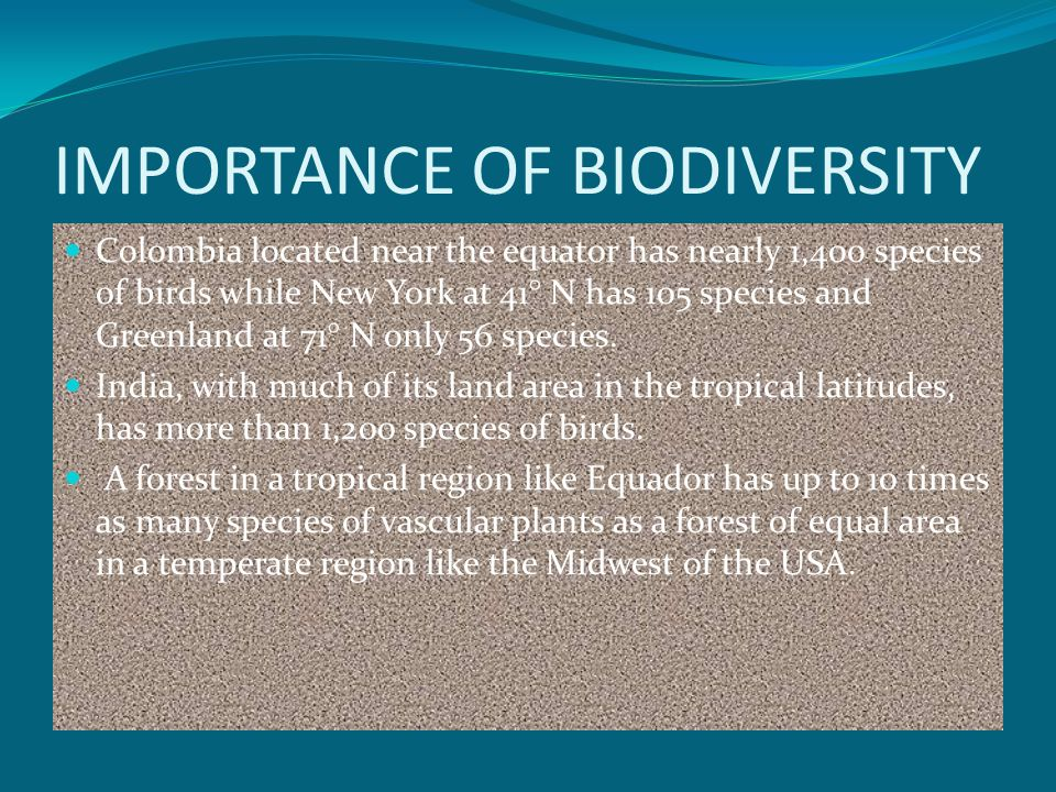 IMPORTANCE OF BIODIVERSITY Colombia located near the equator has nearly 1,400 species of birds while New York at 41° N has 105 species and Greenland at 71° N only 56 species.