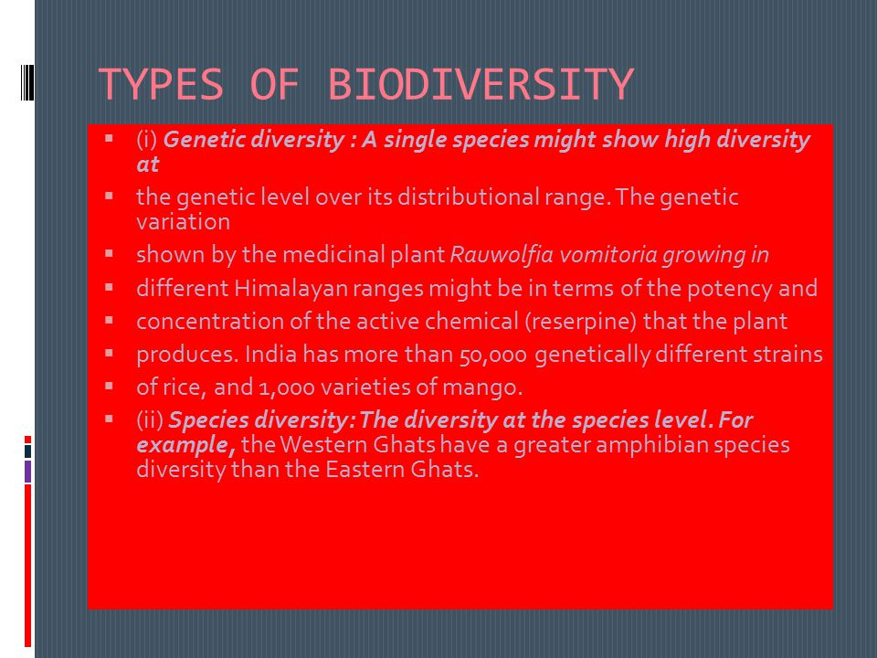 TYPES OF BIODIVERSITY  (i) Genetic diversity : A single species might show high diversity at  the genetic level over its distributional range.
