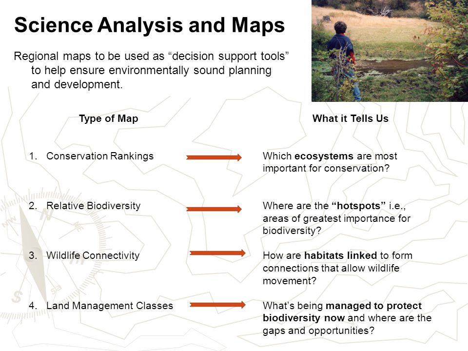 Science Analysis and Maps Regional maps to be used as decision support tools to help ensure environmentally sound planning and development.