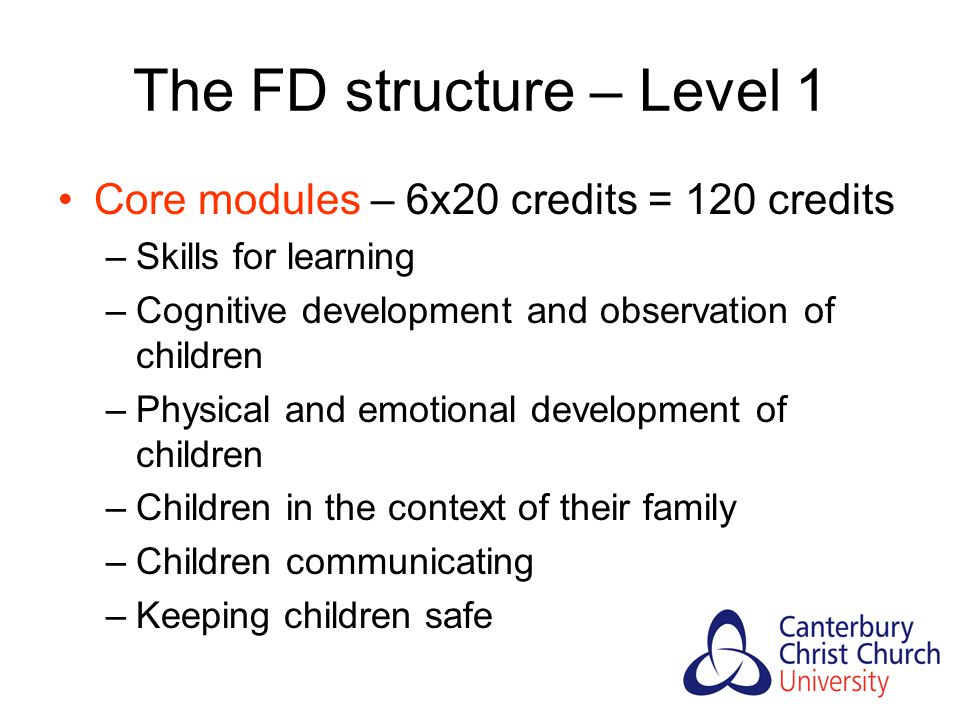 The FD structure – Level 1 Core modules – 6x20 credits = 120 credits –Skills for learning –Cognitive development and observation of children –Physical and emotional development of children –Children in the context of their family –Children communicating –Keeping children safe