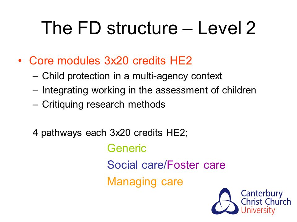 The FD structure – Level 2 Core modules 3x20 credits HE2 –Child protection in a multi-agency context –Integrating working in the assessment of children –Critiquing research methods 4 pathways each 3x20 credits HE2; Generic Social care/Foster care Managing care