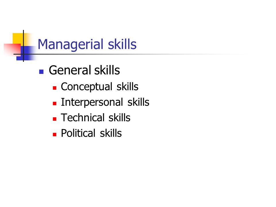 Managerial skills General skills Conceptual skills Interpersonal skills Technical skills Political skills