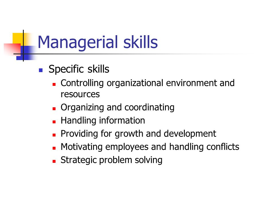 Managerial skills Specific skills Controlling organizational environment and resources Organizing and coordinating Handling information Providing for