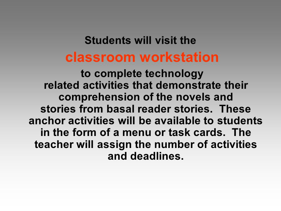 Students will visit the classroom workstation to complete technology related activities that demonstrate their comprehension of the novels and stories from basal reader stories.