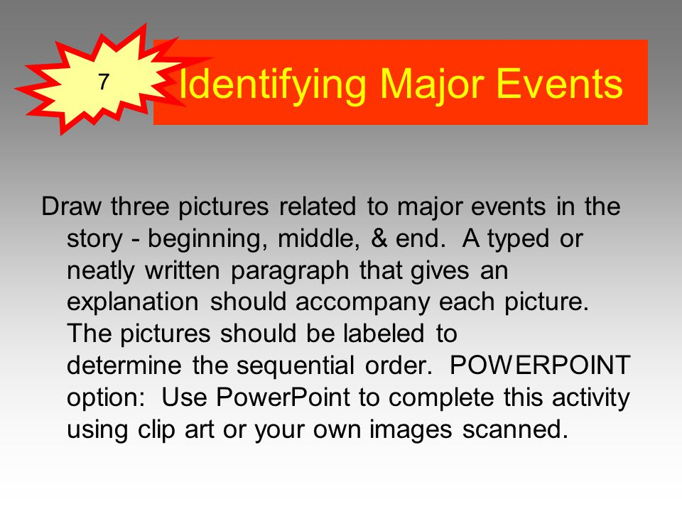 Identifying Major Events Draw three pictures related to major events in the story - beginning, middle, & end.