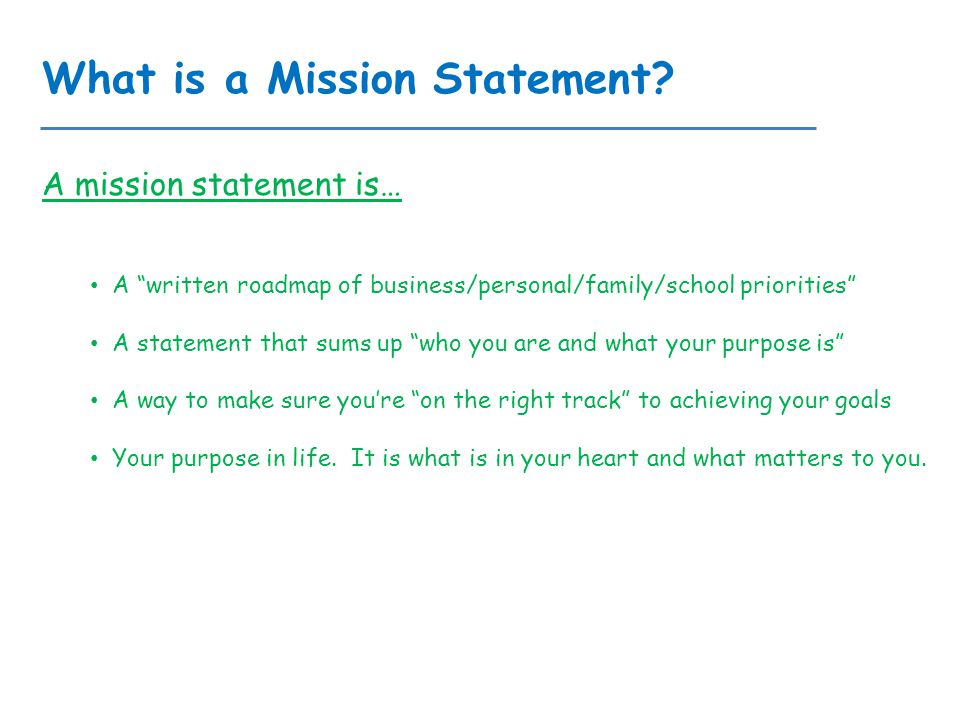 according to covey what is the purpose of a personal mission statement According to senge, learning the basic patterns or archetypes according to covey this is what developing a personal mission statement can help us do.