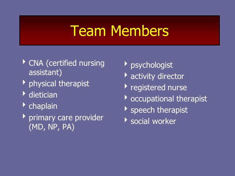 Team Members  CNA (certified nursing assistant)  physical therapist  dietician  chaplain  primary care provider (MD, NP, PA)  psychologist  activity director  registered nurse  occupational therapist  speech therapist  social worker