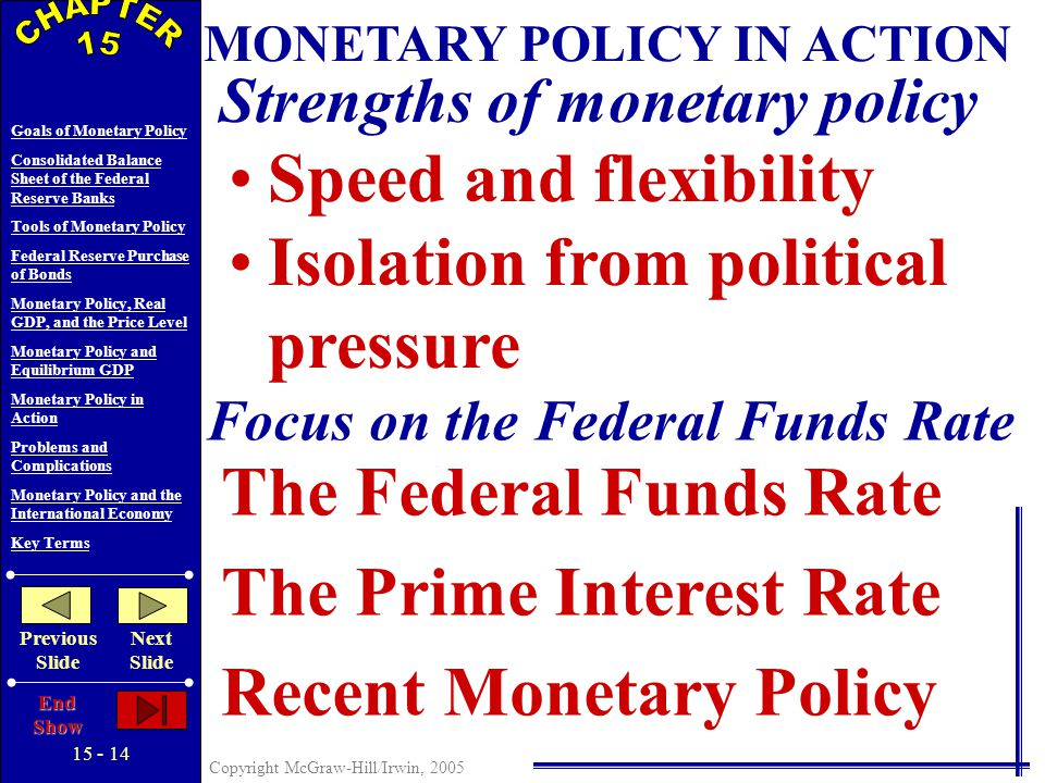 Copyright McGraw-Hill/Irwin, 2005 Goals of Monetary Policy Consolidated Balance Sheet of the Federal Reserve Banks Tools of Monetary Policy Federal Reserve Purchase of Bonds Monetary Policy, Real GDP, and the Price Level Monetary Policy and Equilibrium GDP Monetary Policy in Action Problems and Complications Monetary Policy and the International Economy Key Terms Previous Slide Next Slide End Show Money Market Investment Equilibrium GDP Effects of an easy money policy Effects of a tight money policy MONETARY POLICY AND EQUILIBRIUM GDP