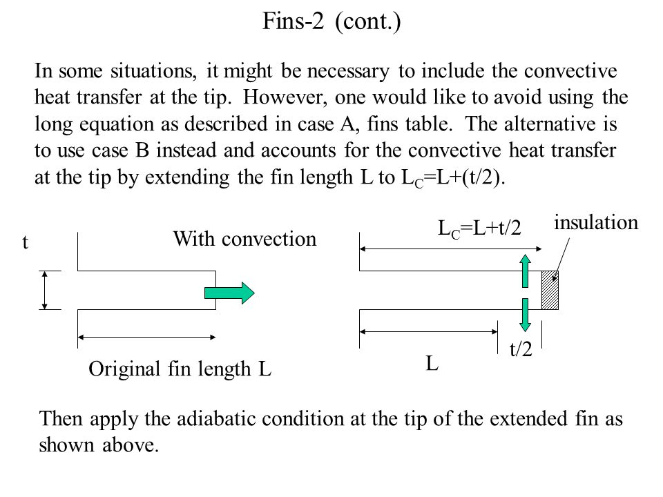 Fins-2 (cont.) In some situations, it might be necessary to include the convective heat transfer at the tip.