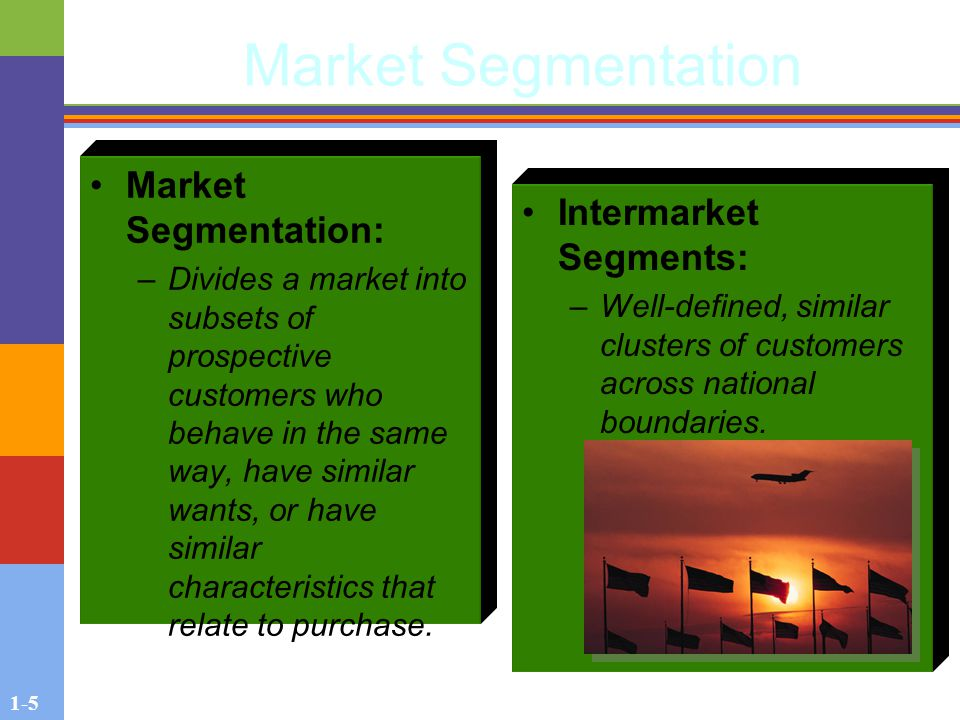 1-5 Market Segmentation Market Segmentation: –Divides a market into subsets of prospective customers who behave in the same way, have similar wants, or have similar characteristics that relate to purchase.