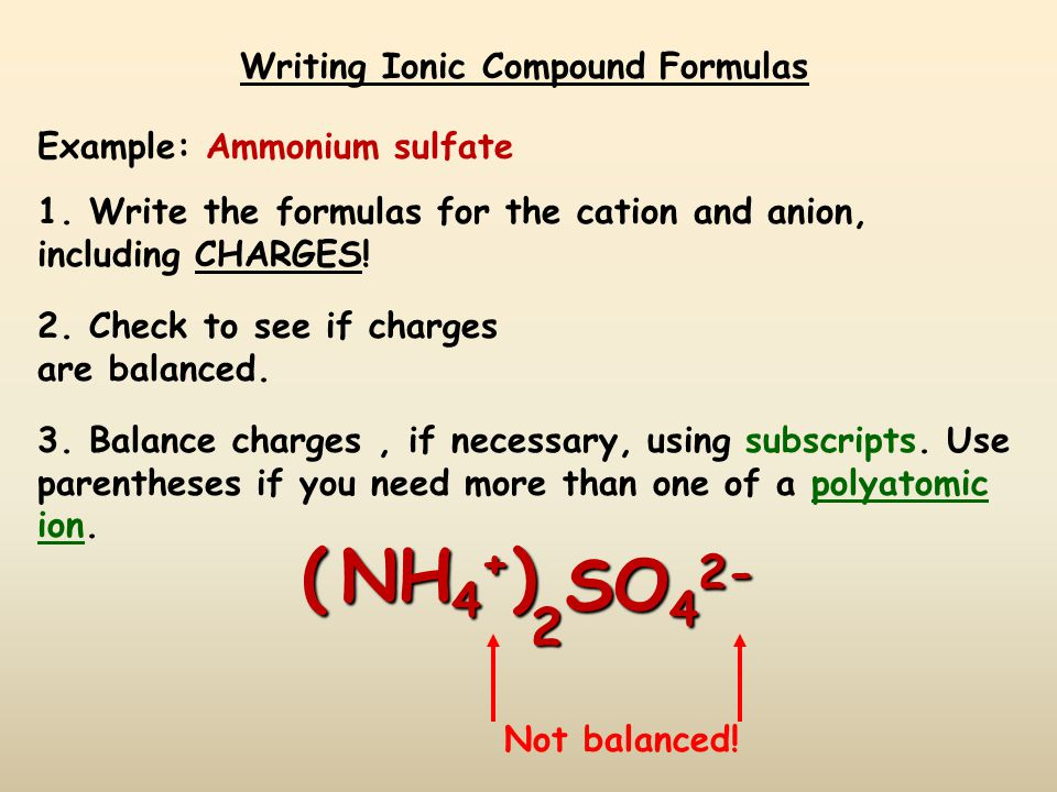 Writing Ionic Compound Formulas Example: Barium nitrate 1.