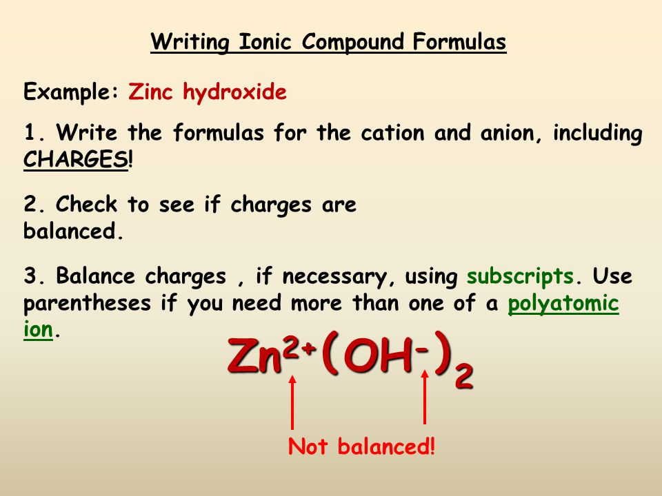 Writing Ionic Compound Formulas Example: Magnesium carbonate 1.
