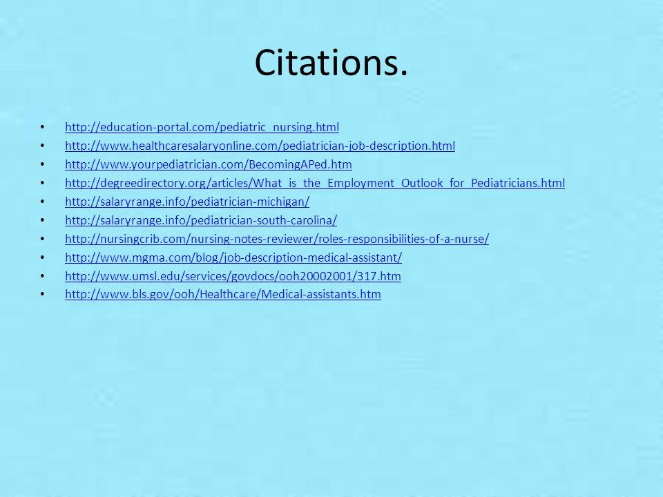 10 citations - Pediatrician Description
