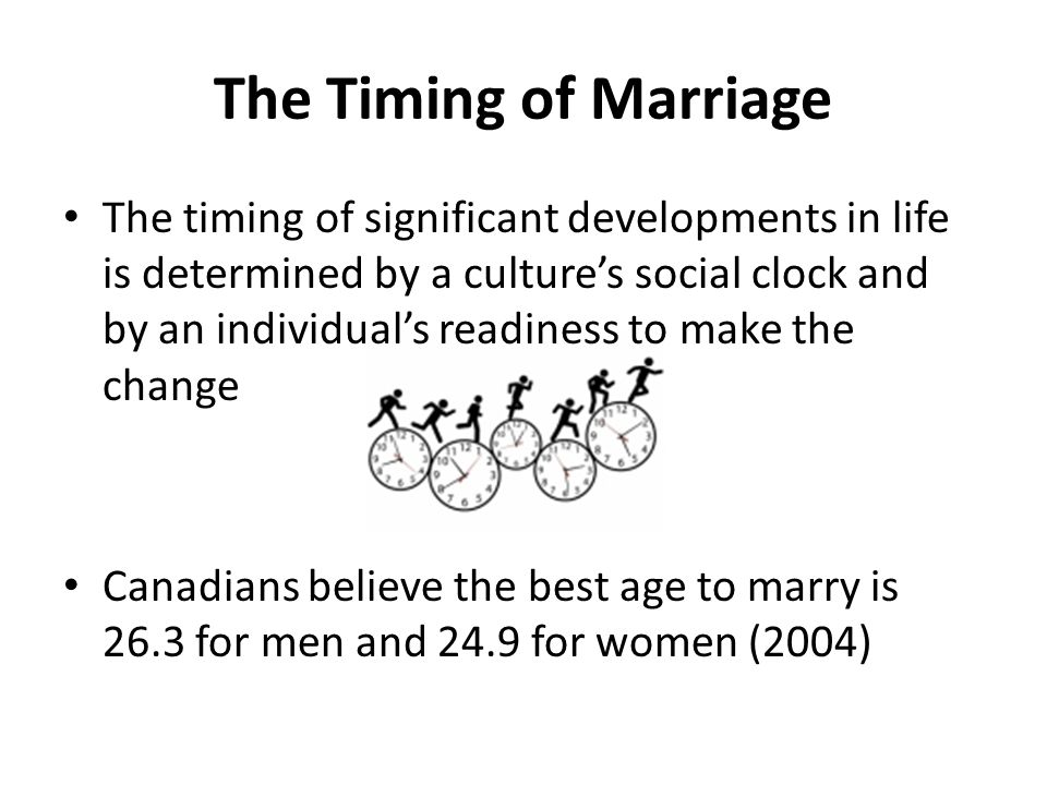 The Timing of Marriage The timing of significant developments in life is determined by a culture's social clock and by an individual's readiness to make the change Canadians believe the best age to marry is 26.3 for men and 24.9 for women (2004)