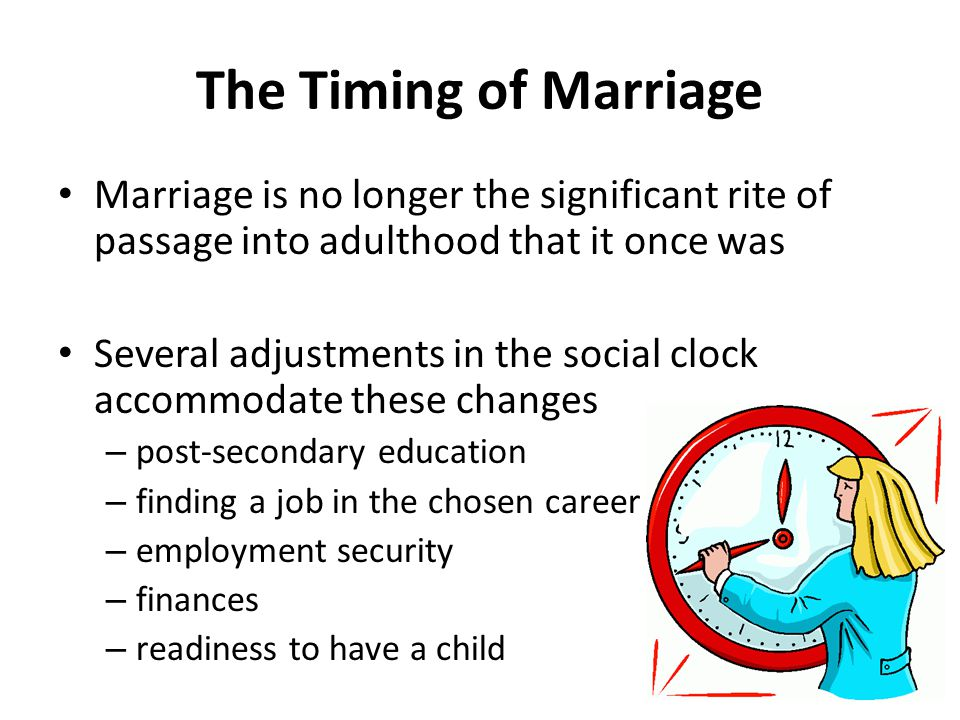 The Timing of Marriage Marriage is no longer the significant rite of passage into adulthood that it once was Several adjustments in the social clock accommodate these changes – post-secondary education – finding a job in the chosen career – employment security – finances – readiness to have a child