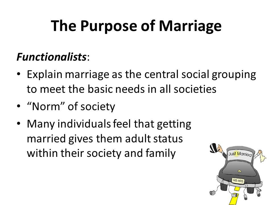 The Purpose of Marriage Functionalists: Explain marriage as the central social grouping to meet the basic needs in all societies Norm of society Many individuals feel that getting married gives them adult status within their society and family