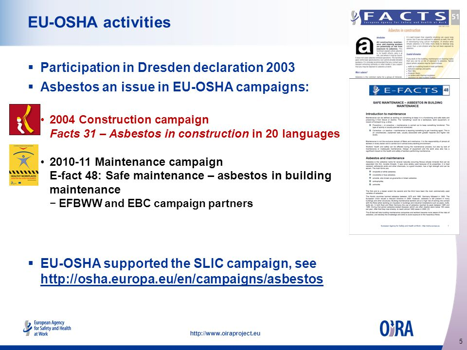 5   EU-OSHA activities  Participation in Dresden declaration 2003  Asbestos an issue in EU-OSHA campaigns: 2004 Construction campaign Facts 31 – Asbestos in construction in 20 languages Maintenance campaign E-fact 48: Safe maintenance – asbestos in building maintenance −EFBWW and EBC campaign partners  EU-OSHA supported the SLIC campaign, see