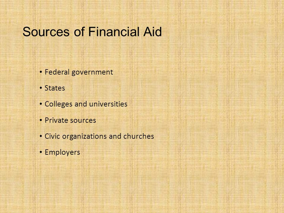 Sources of Financial Aid Federal government States Colleges and universities Private sources Civic organizations and churches Employers