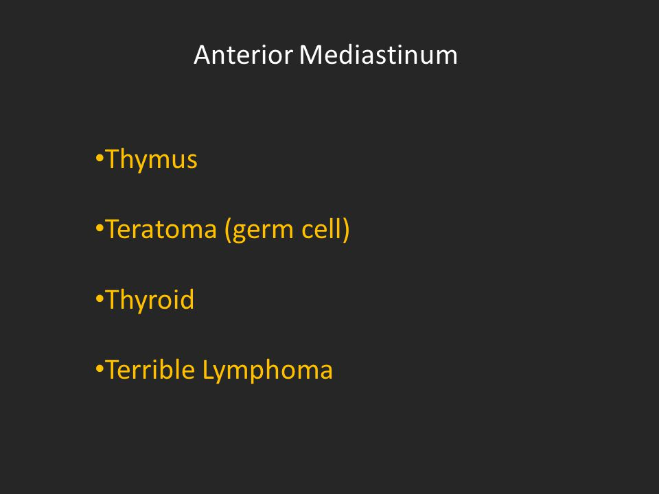 Anterior Mediastinum Thymus Teratoma (germ cell) Thyroid Terrible Lymphoma