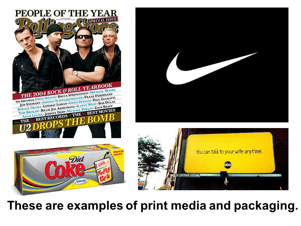 These are examples of print media and packaging.