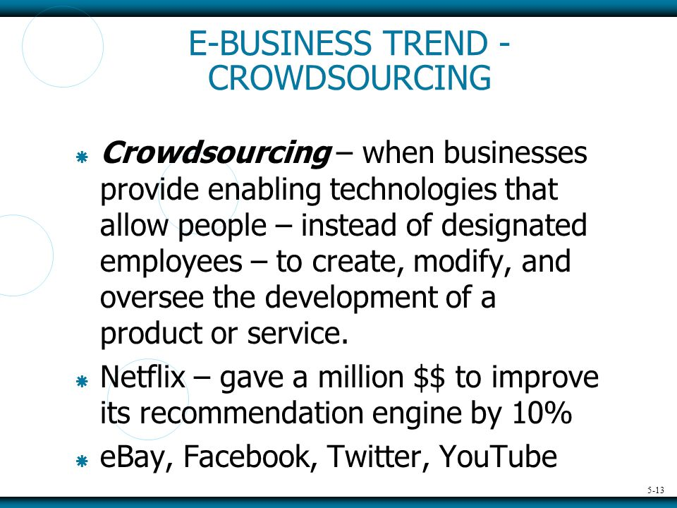 5-13 E-BUSINESS TREND - CROWDSOURCING  Crowdsourcing – when businesses provide enabling technologies that allow people – instead of designated employees – to create, modify, and oversee the development of a product or service.