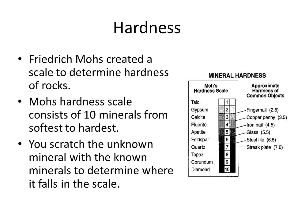 Hardness Friedrich Mohs created a scale to determine hardness of rocks.