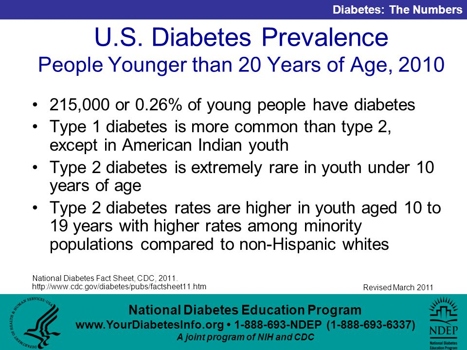 National Diabetes Education Program NDEP ( ) A joint program of NIH and CDC Diabetes: The Numbers Revised March 2011 U.S.
