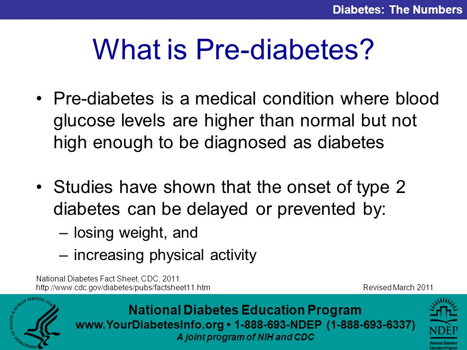 National Diabetes Education Program NDEP ( ) A joint program of NIH and CDC Diabetes: The Numbers Revised March 2011 What is Pre-diabetes.