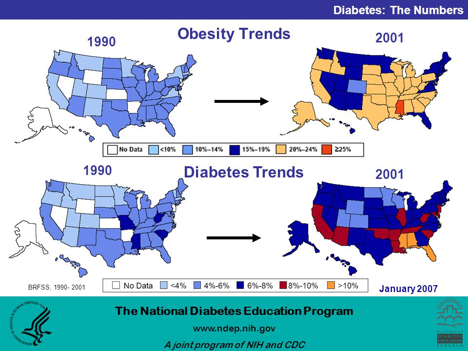 Diabetes: The Numbers The National Diabetes Education Program   A joint program of NIH and CDC January 2007 Obesity Trends Diabetes Trends BRFSS,