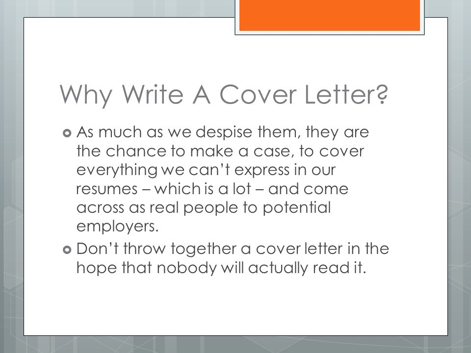 Why Write A Cover Letter.