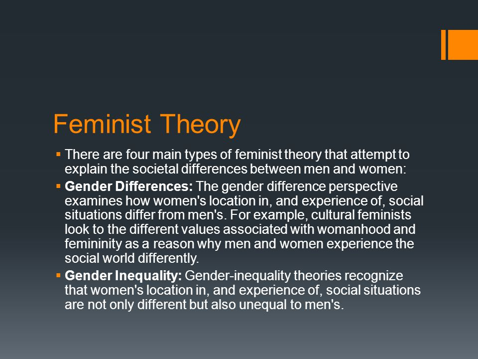 Feminist Theory  There are four main types of feminist theory that attempt to explain the societal differences between men and women:  Gender Differences: The gender difference perspective examines how women s location in, and experience of, social situations differ from men s.