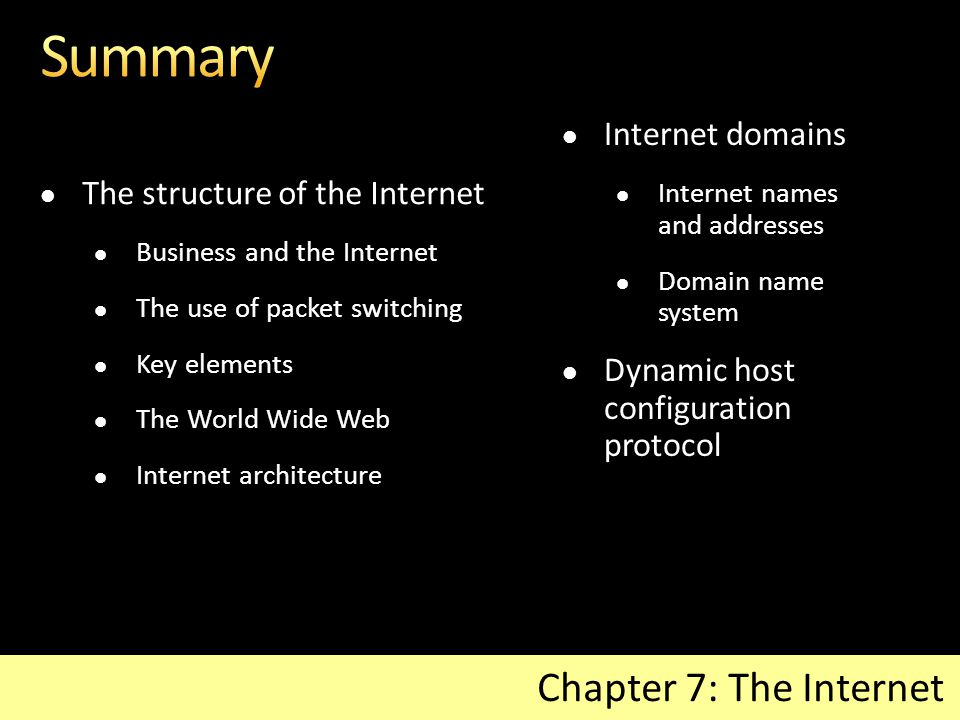 The structure of the Internet Business and the Internet The use of packet switching Key elements The World Wide Web Internet architecture Chapter 7: The Internet Internet domains Internet names and addresses Domain name system Dynamic host configuration protocol