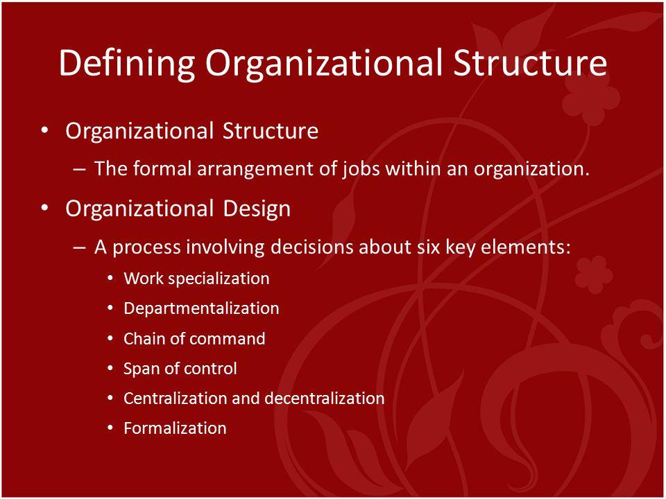 Defining Organizational Structure Organizational Structure – The formal arrangement of jobs within an organization. Organizational Design – A process