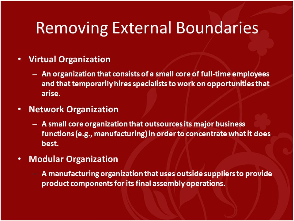 Removing External Boundaries Virtual Organization – An organization that consists of a small core of full-time employees and that temporarily hires sp