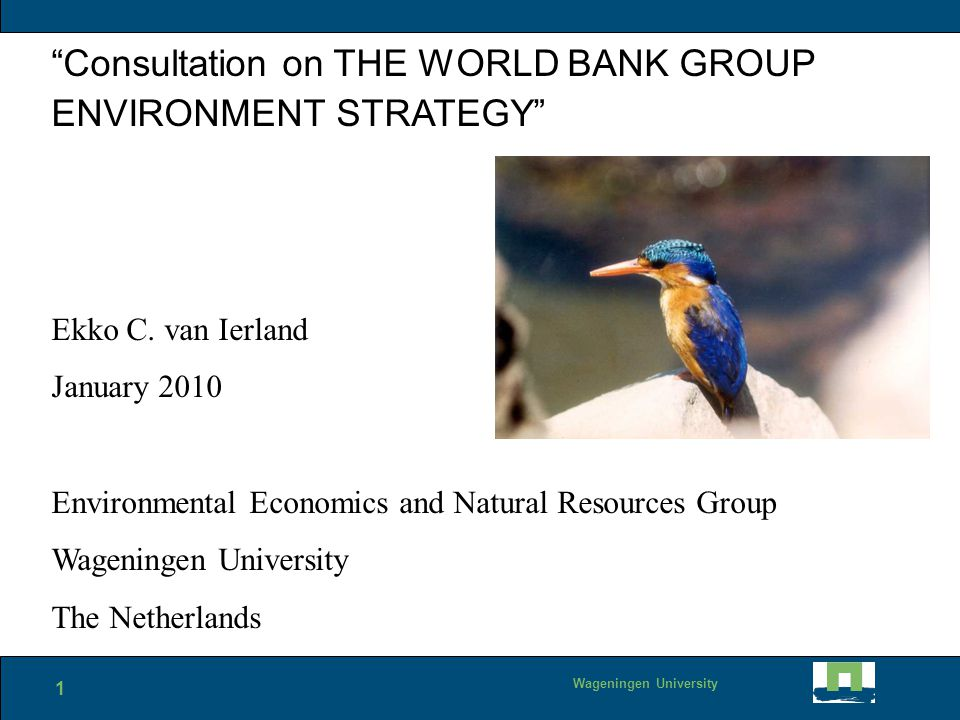 1 Wageningen University Consultation on THE WORLD BANK GROUP ENVIRONMENT STRATEGY Ekko C.