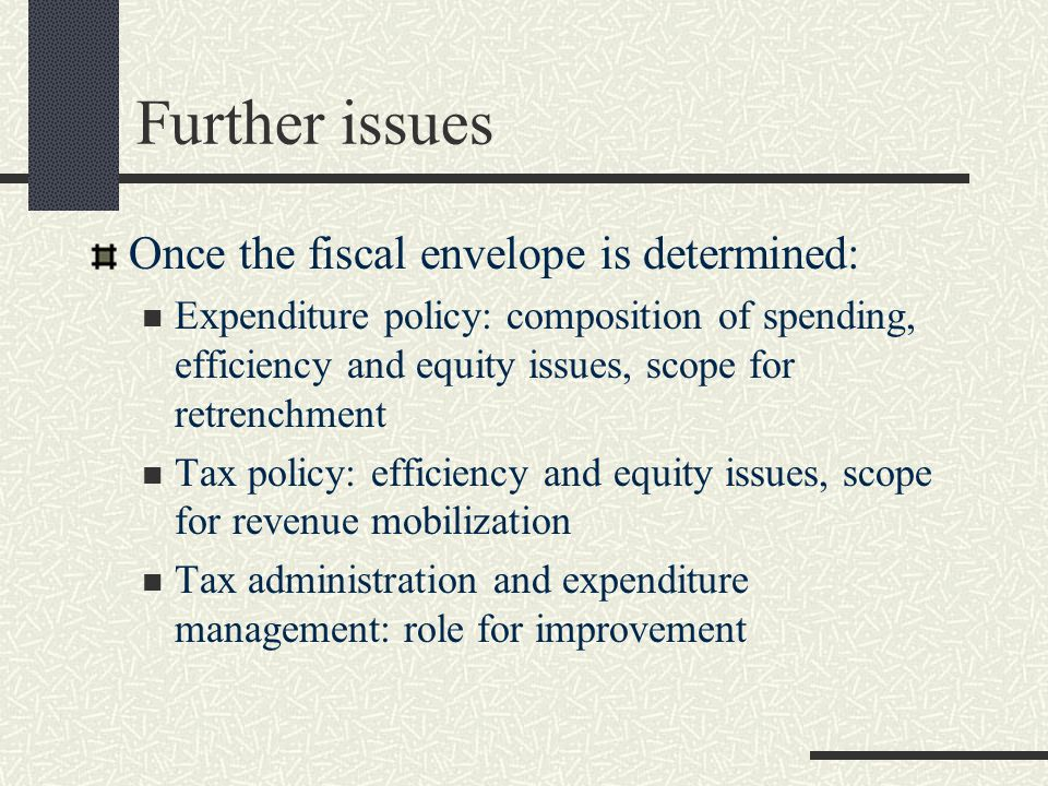 Further issues Once the fiscal envelope is determined: Expenditure policy: composition of spending, efficiency and equity issues, scope for retrenchment Tax policy: efficiency and equity issues, scope for revenue mobilization Tax administration and expenditure management: role for improvement