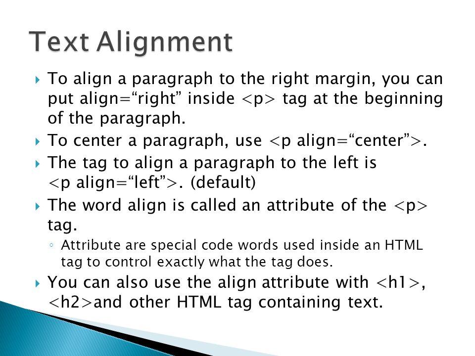 paragraph tag attributes