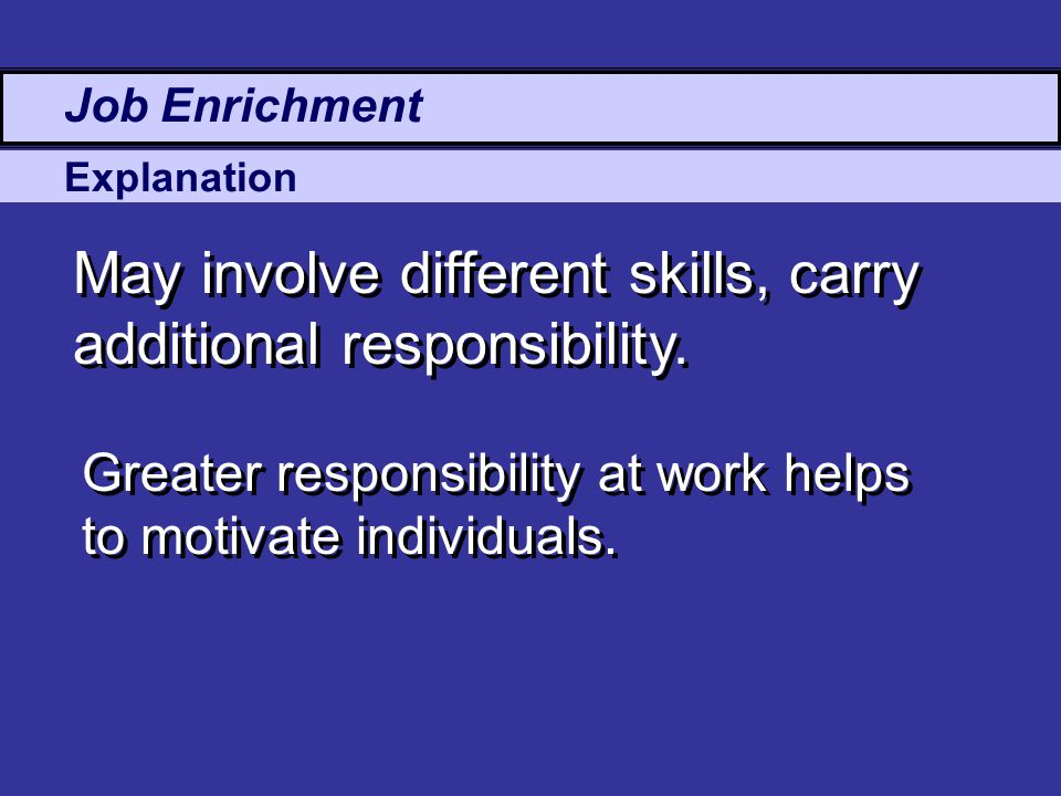 Explanation May involve different skills, carry additional responsibility.