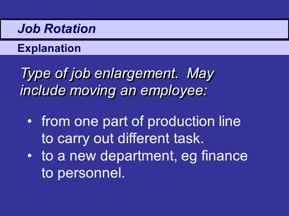 Explanation Job Rotation Type of job enlargement.