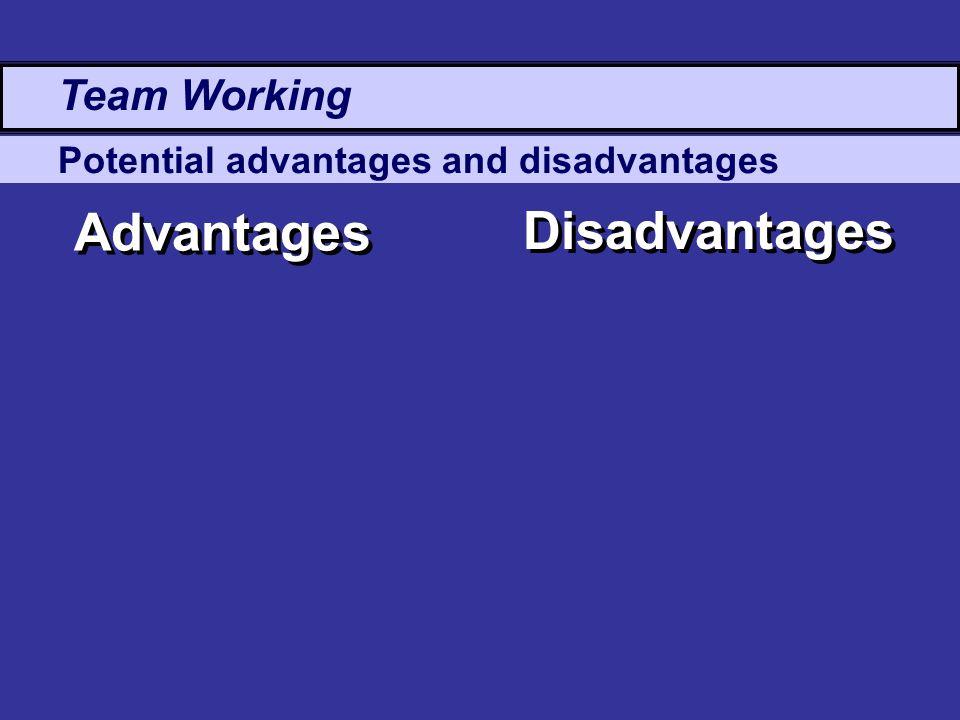 Potential advantages and disadvantages Advantages Disadvantages Team Working