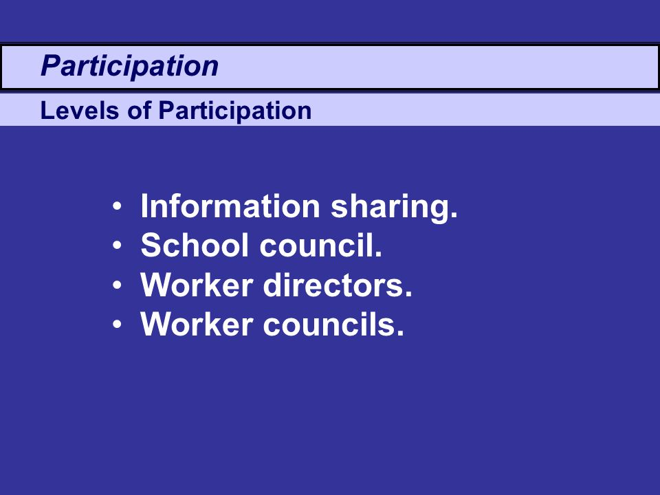 Levels of Participation Participation Information sharing.