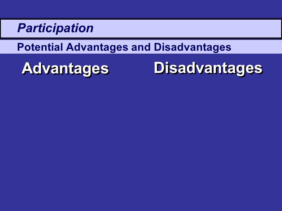 Potential Advantages and Disadvantages Advantages Disadvantages Participation
