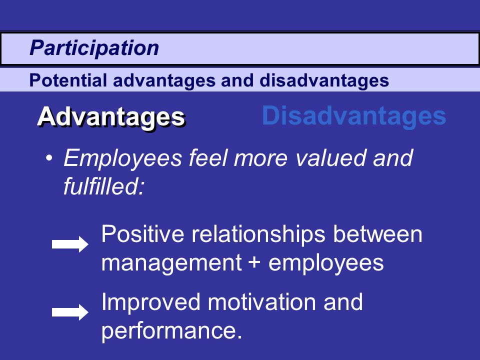 Advantages Disadvantages Employees feel more valued and fulfilled: Potential advantages and disadvantages Positive relationships between management + employees Improved motivation and performance.
