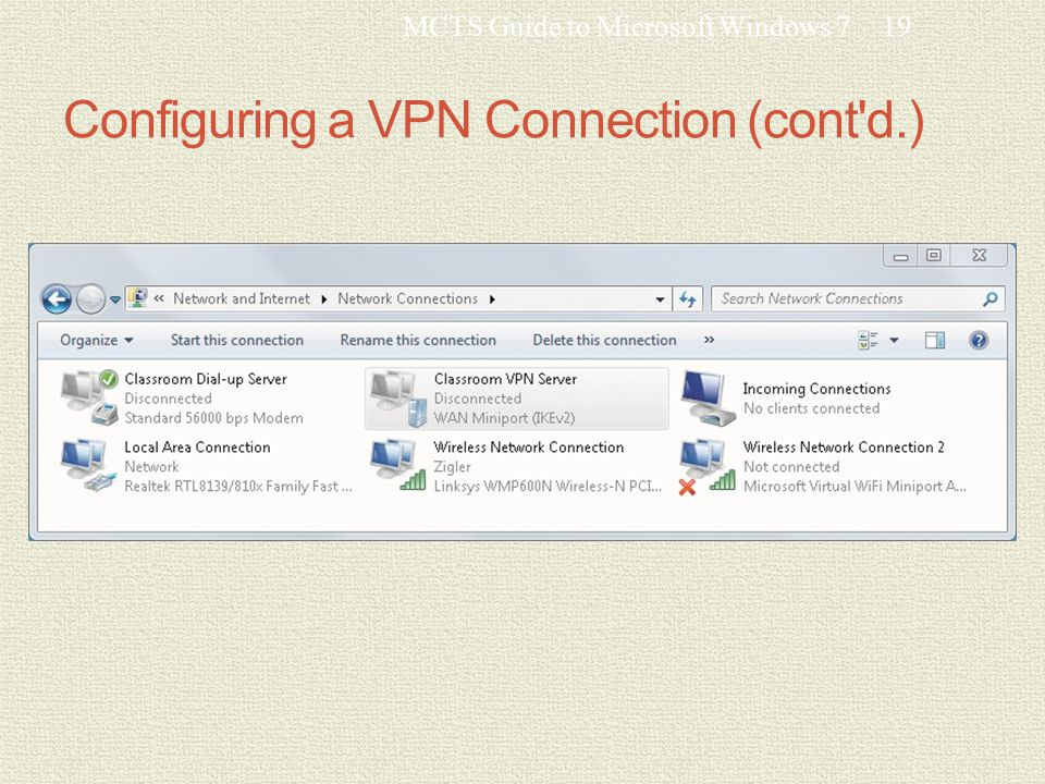 Configuring a VPN Connection (cont d.) MCTS Guide to Microsoft Windows 719